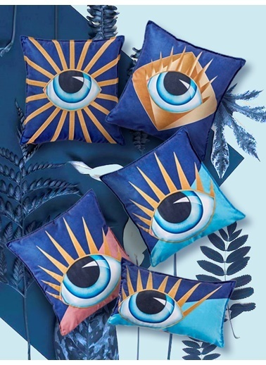 The Mia Eye Nakışlı Yastık 45 x 45 Cm Renkli